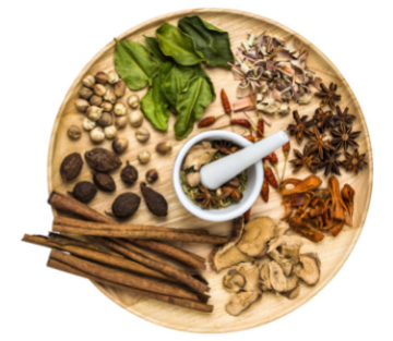 A dish of different medicinal herbs