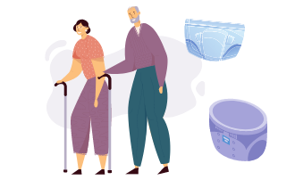 Old man and woman beside incontinence supplies
