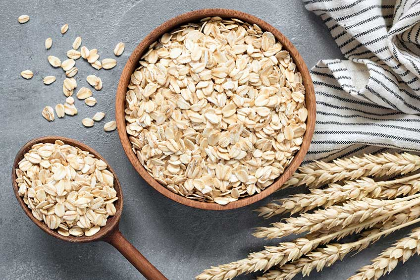 Oatmeal bowl and wheat ears