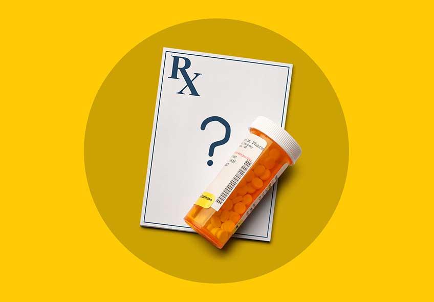 An empty prescription and medicine box