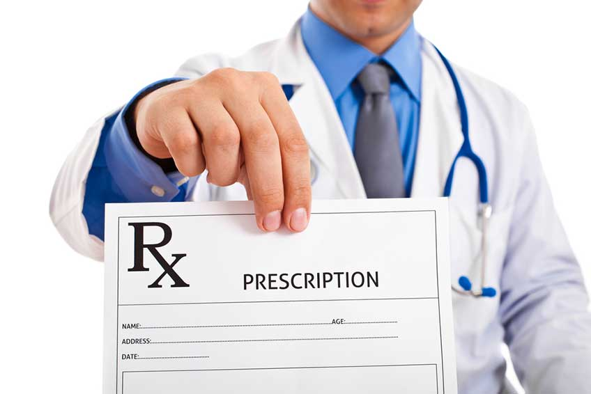 Doctor showing a prescription