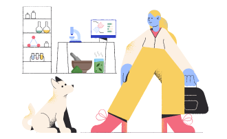 A veterinarian and a dog at a veterinary center